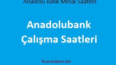 Anadolu Bank Çalışma Saatleri