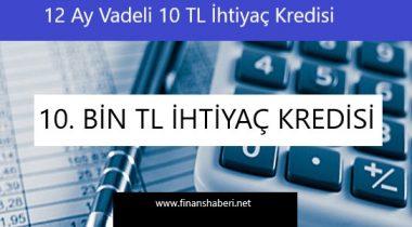 12 Ay Geri Ödemeli 10.000 TL İhtiyaç Kredisi Veren Bankalar