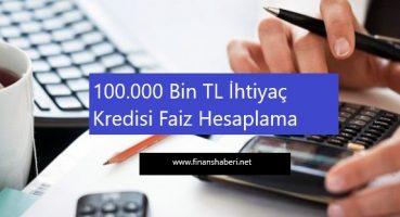 100.000 TL İhtiyaç Kredisi