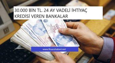 30.000 Bin TL İhtiyaç Kredisi Veren Bankalar