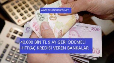40.000 Bin TL İhtiyaç Kredisi Veren Bankalar